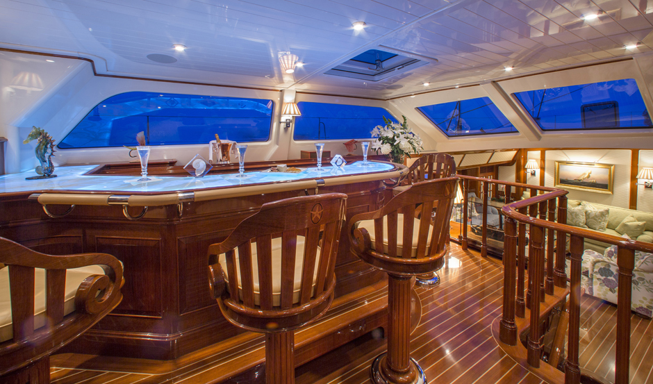 Interiors onboard Whisper in Stonington, CT.